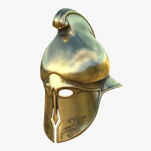 helmet greek gold 3D model