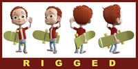 3D alex cartoon boy model