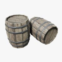wooden barrel pbr model