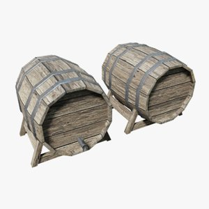 3D model wooden barrel pbr