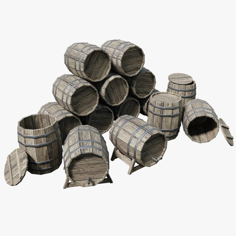 3D wooden barrels pbr