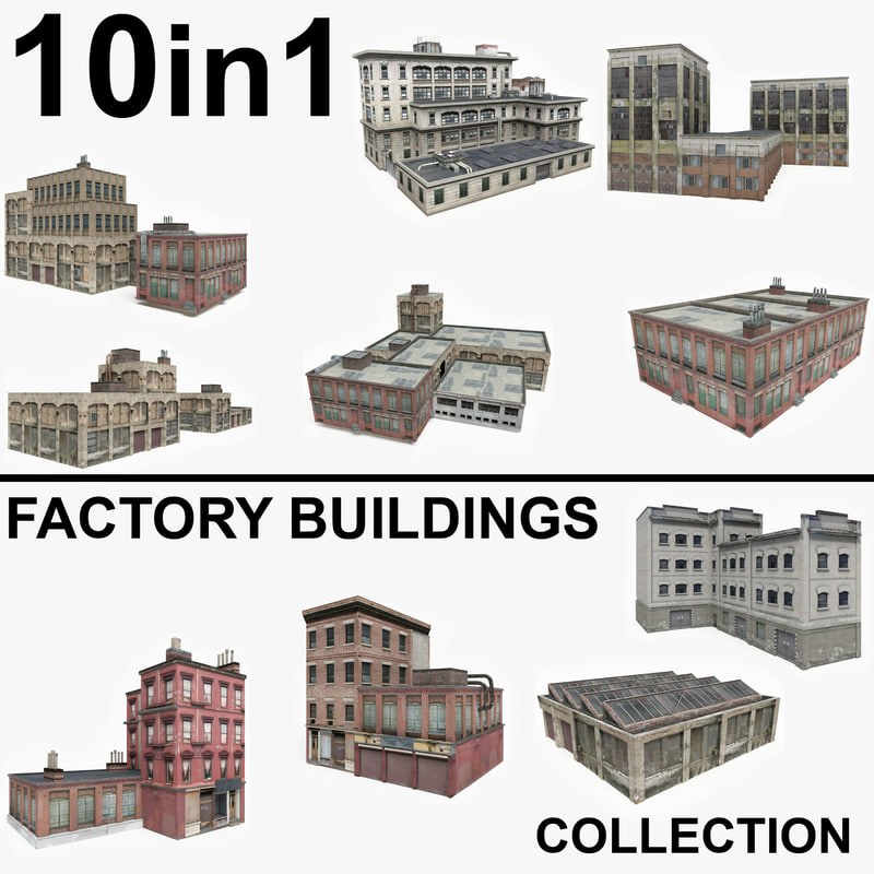 10 factory buildings 3D model