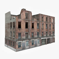3D ready ruined apartment building