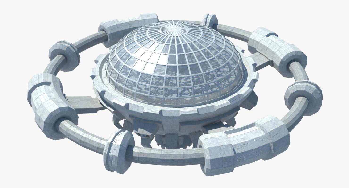 3D model ocean flying city
