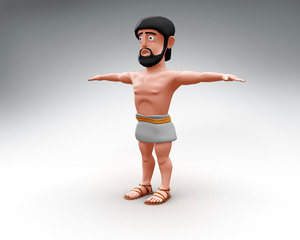 odysseus cartoon character 3D model
