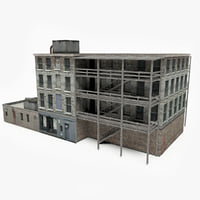 ready old apartment building 3D