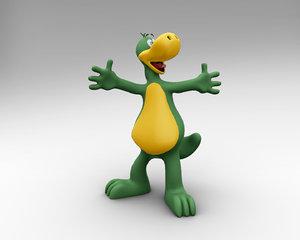 3D dinosaur cartoon character model
