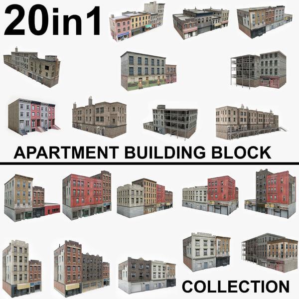 20 apartment building blocks model