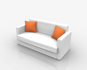 3D model sofa white pillows