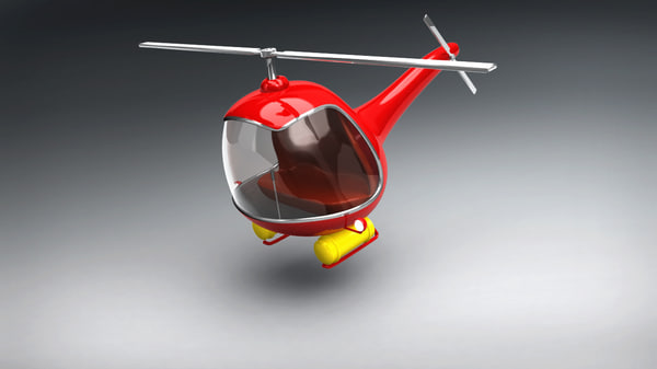 vintage red helicopter 3D