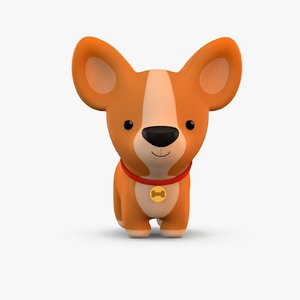 3D model cute cartoon dog