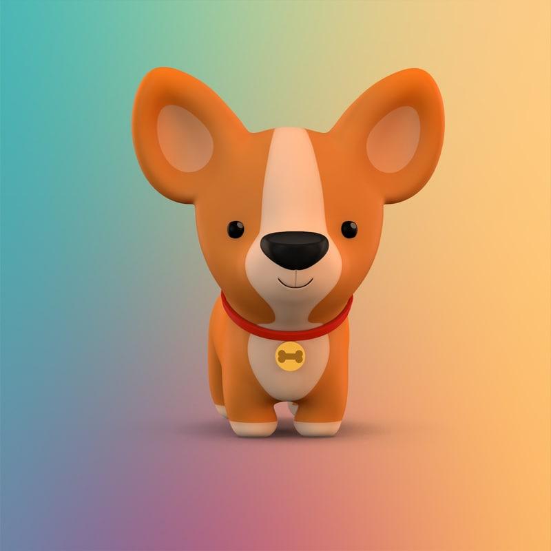 3D model cute cartoon dog