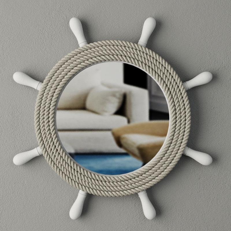 3D ship wheel mirror