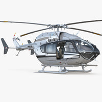 Light Utility Helicopter Eurocopter EC145 Rigged