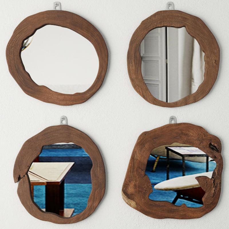 3D teak wood mirror set