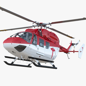 3D model kawasaki bk 117 air ambulance