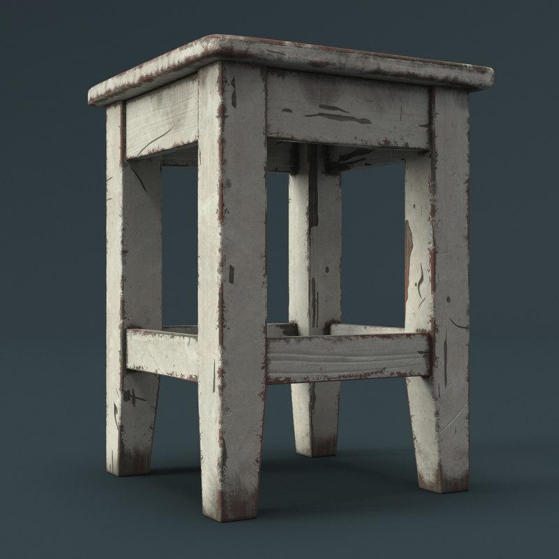 3D old stool model