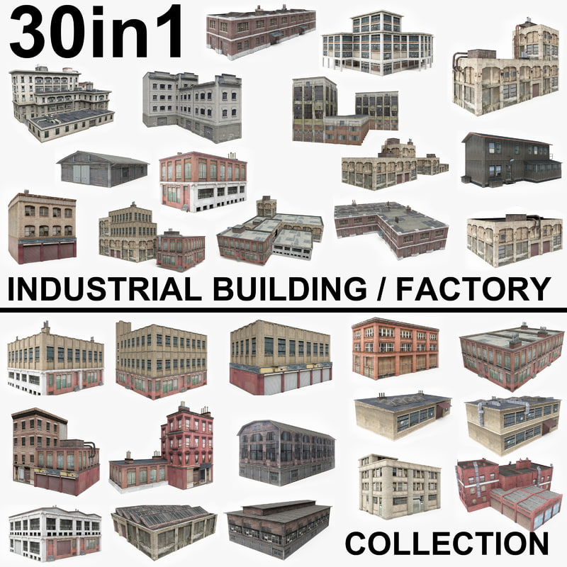 3D 30 factory industrial buildings