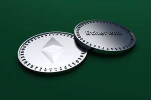 silver coin symbol ethereum 3D model