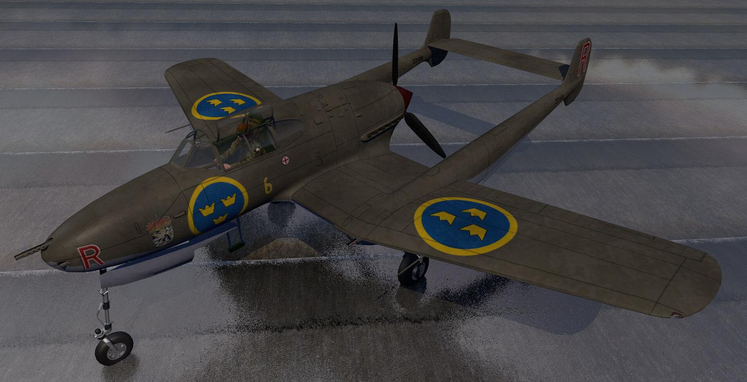 3D plane saab j-21 a-1 model