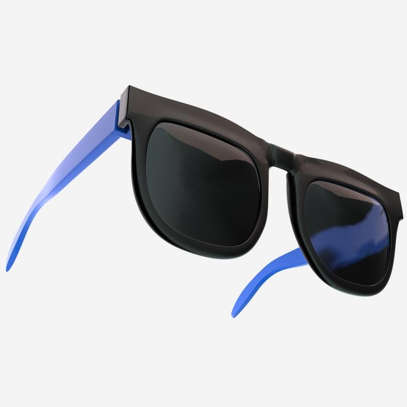 black blue sunglass 3D model