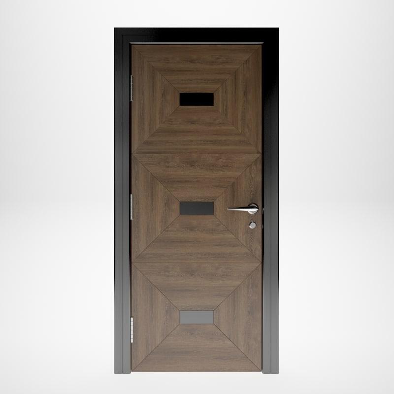 3D wooden door interior model