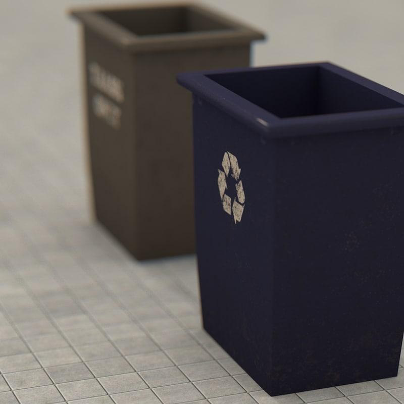 3D college dorm trash recycling