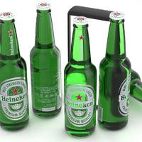3D beer bottle heineken 3
