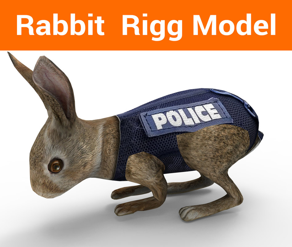 police rabbit rigged 3D model