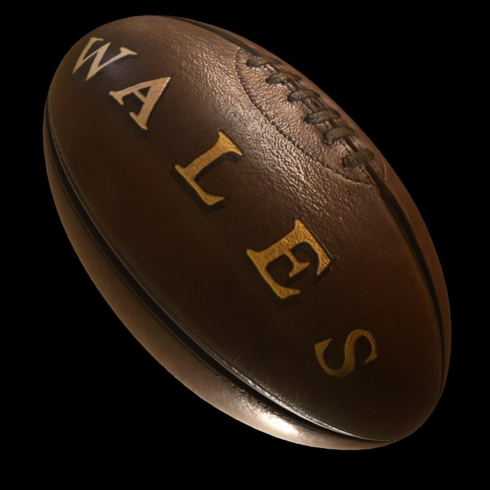 3D vintage rugby ball