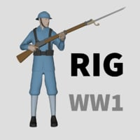 soldiers world war rigged 3D model