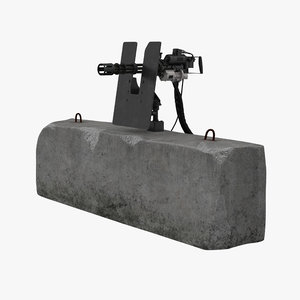 minigun m134 clean mounted 3D model