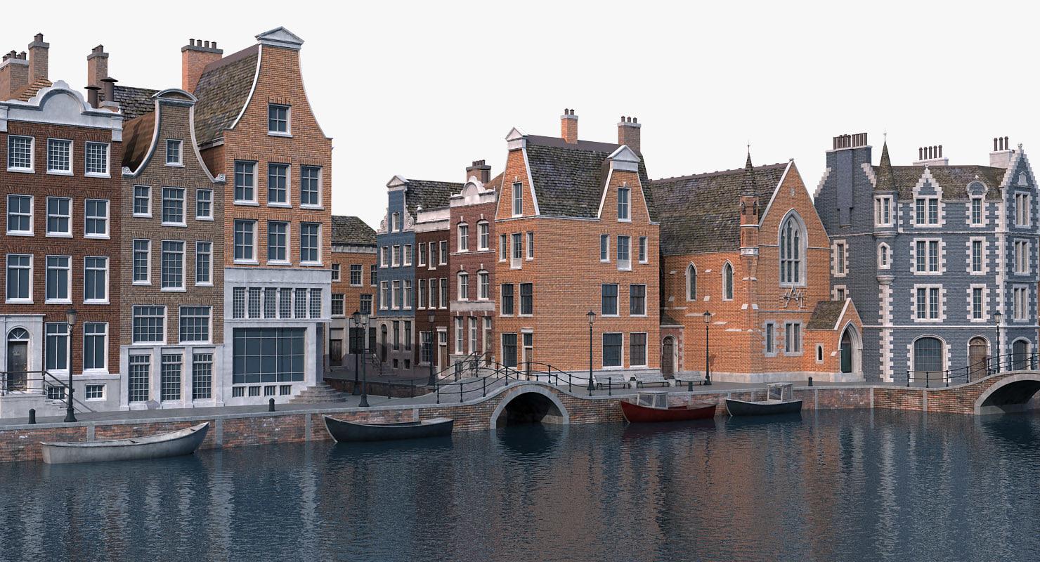 3D amsterdam scene