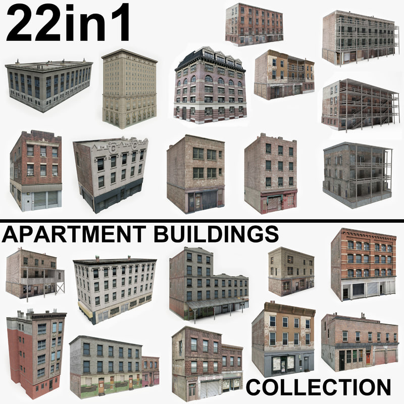 22 apartment buildings 3D model