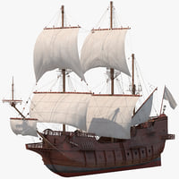 spanish galleon ship 3D model