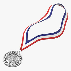 3D olympic style medal silver model