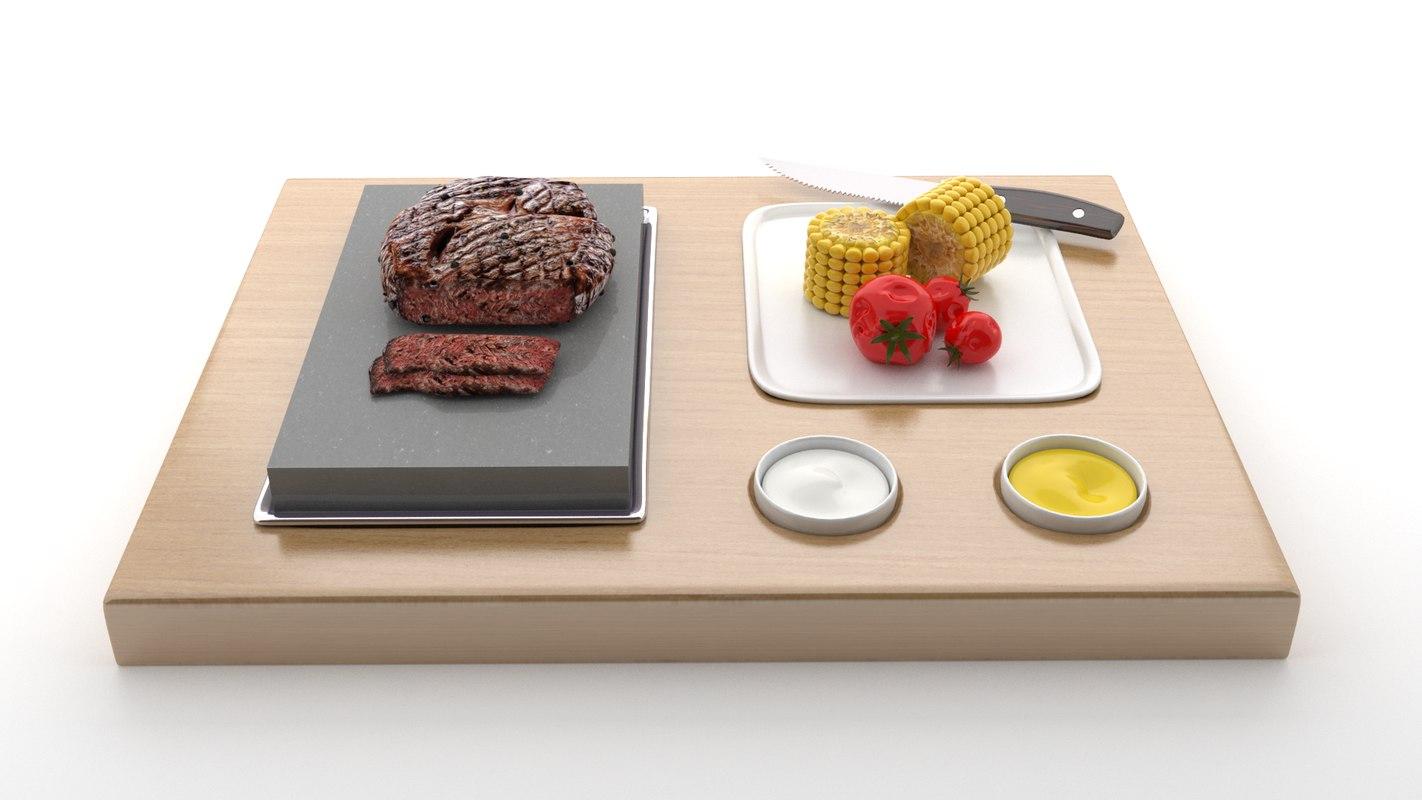 3D steak wood v3 model