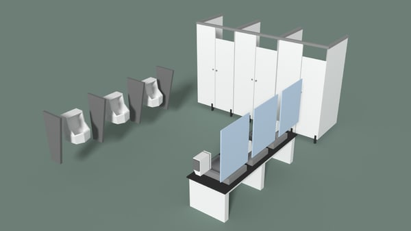 3D model office urinals
