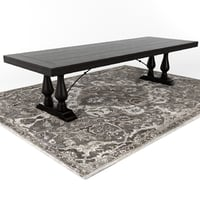 Pottery Barn LORRAINE DINING TABLE / NOLAN PERSIAN-STYLE RUG