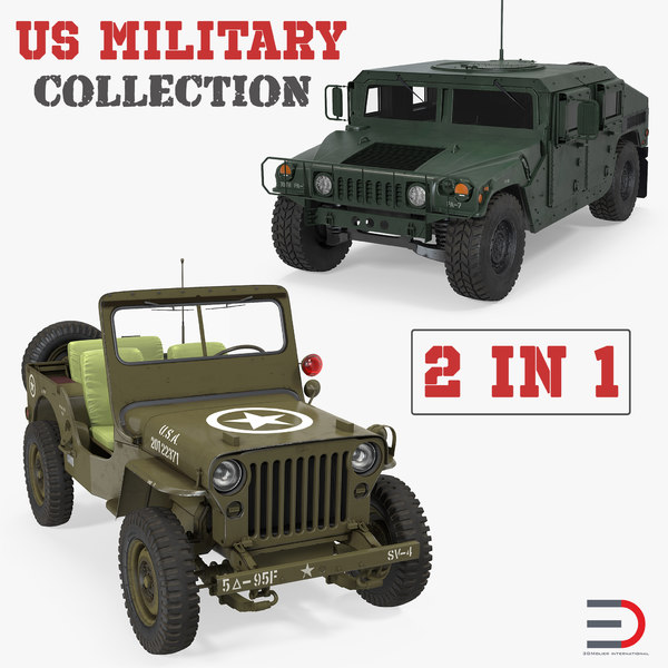 3D military wheeled vehicles jeep willys