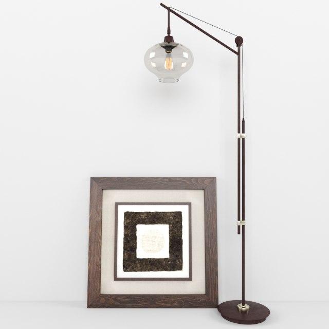 3D model lamps industrial bronze floor