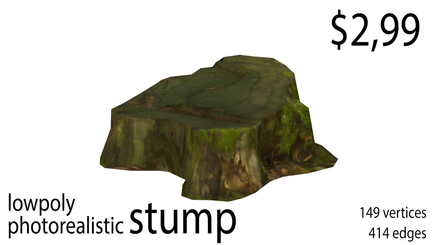 3D photorealistic stump