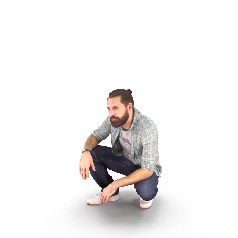3D model man sitting human body