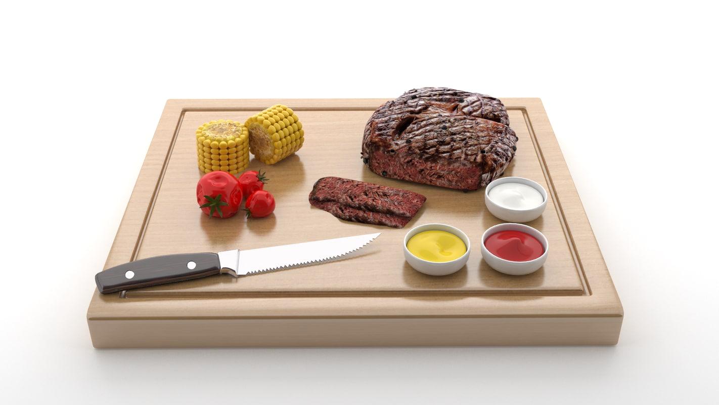 3D steak wood v4 model