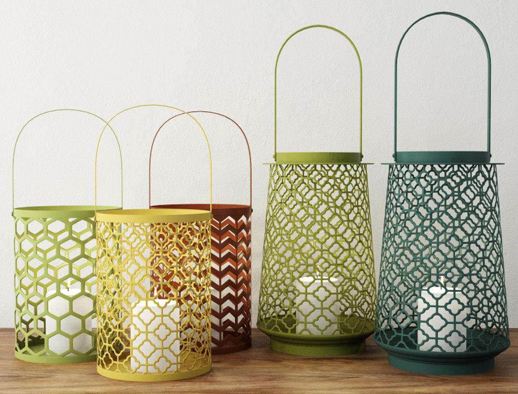 3D geometric lantern set