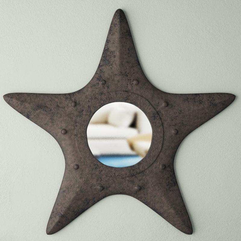 3D metal starfish mirror model