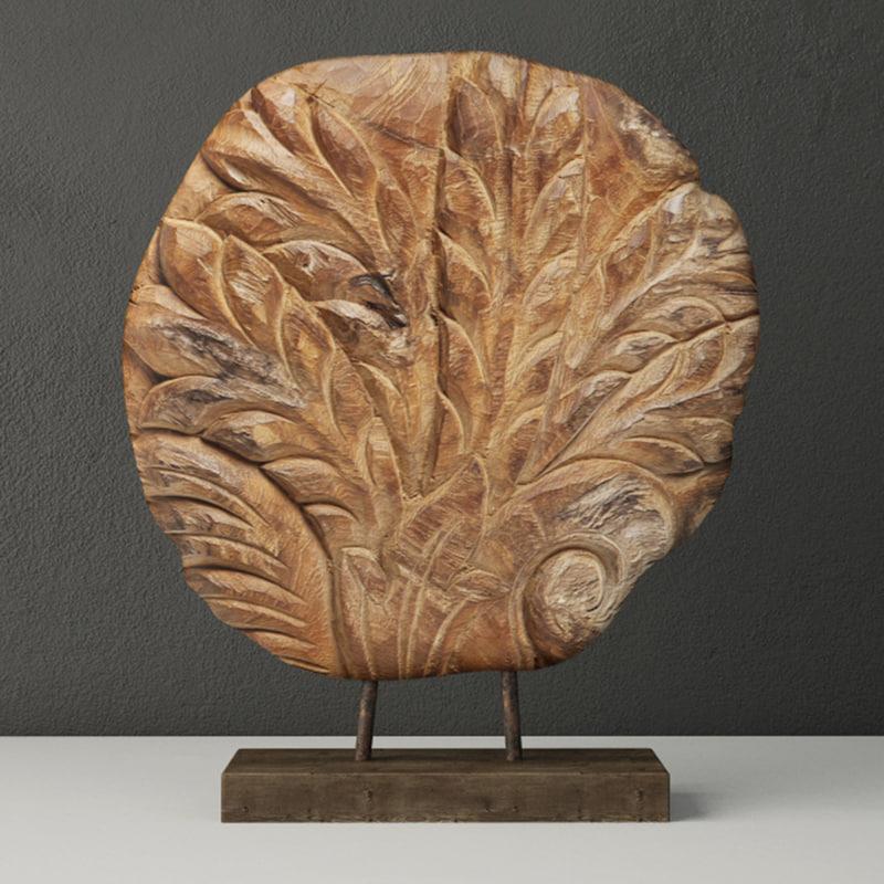 3D piece wood base zara model