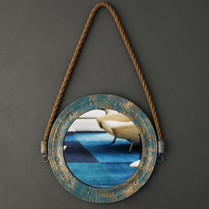3D blue metal mirror zara
