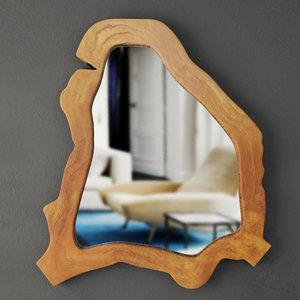 3D model teak root mirror