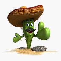 3D cactus cartoon character